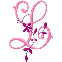Floral Monogram  L embroidery design