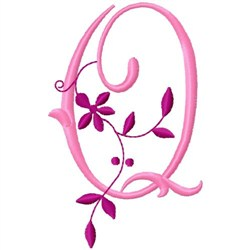 Floral Monogram  Q embroidery design