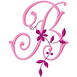 Floral Monogram   B embroidery design