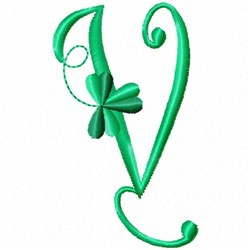 Shamrock Monogram V embroidery design