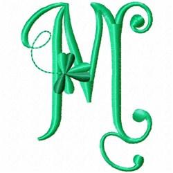 Shamrock Monogram M embroidery design