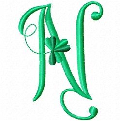 Shamrock Monogram N embroidery design
