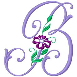 Floral Monogram Font B embroidery design