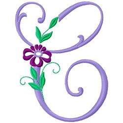 Floral Monogram Font C embroidery design