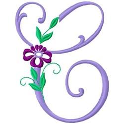Floral Monogram Font C embroidery design