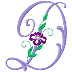 Floral Monogram Font D embroidery design