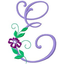 Floral Monogram Font E embroidery design