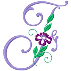 Floral Monogram Font F embroidery design