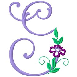 Floral Monogram Font G embroidery design