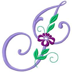 Floral Monogram Font J embroidery design