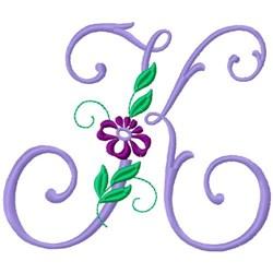 Floral Monogram Font K embroidery design