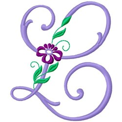 Floral Monogram Font L embroidery design