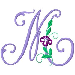 Floral Monogram Font M embroidery design