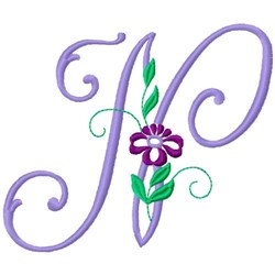 Floral Monogram Font N embroidery design