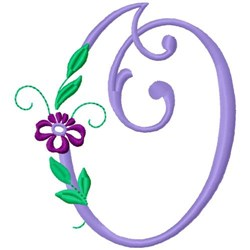Floral Monogram Font O embroidery design