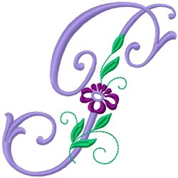 Floral Monogram Font P embroidery design