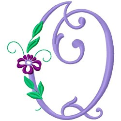 Floral Monogram Font Q embroidery design