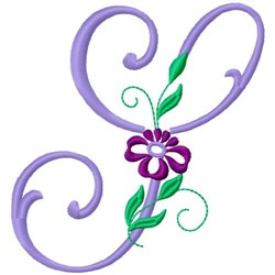 Floral Monogram Font S embroidery design