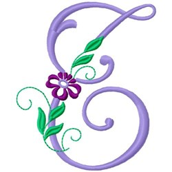 Floral Monogram Font T embroidery design