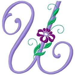 Floral Monogram Font U embroidery design