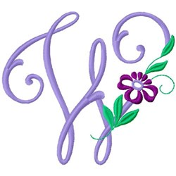 Floral Monogram Font W embroidery design