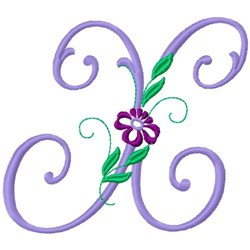 Floral Monogram Font X embroidery design