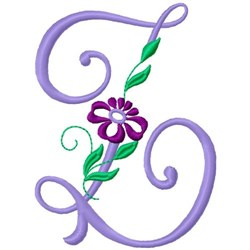 Floral Monogram Font Z embroidery design