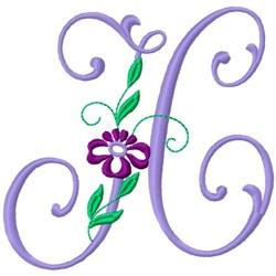 Floral Monogram Font H embroidery design