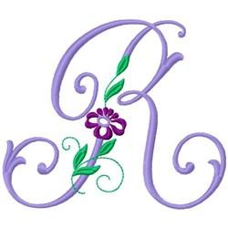 Floral Monogram Font R embroidery design