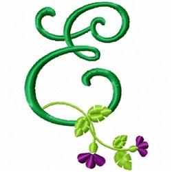 Floral Monogram E embroidery design