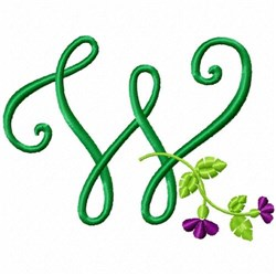Floral Monogram W embroidery design
