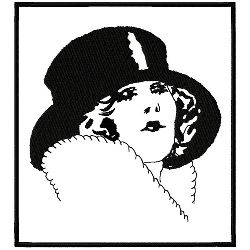 Art Deco Top Hat In Frame embroidery design