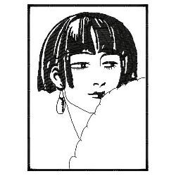 Flapper Hairstyle In Frame embroidery design