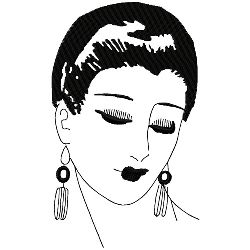 Art Deco Formal Hairstyle embroidery design