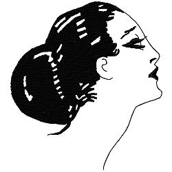 Art Deco Low Bun Hairstyle embroidery design