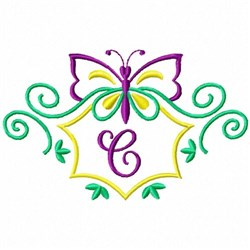 Monogram Butterfly  C embroidery design