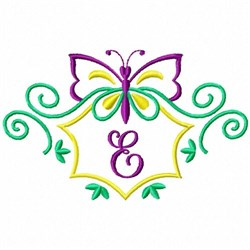 Monogram Butterfly E embroidery design
