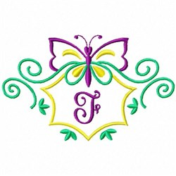 Monogram Butterfly F embroidery design