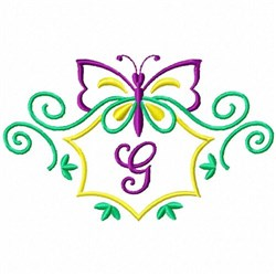 Monogram Butterfly G embroidery design