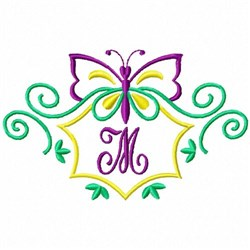 Monogram Butterfly M embroidery design