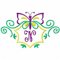 Monogram Butterfly N embroidery design