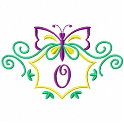 Monogram Butterfly O embroidery design