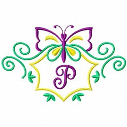 Monogram Butterfly P embroidery design