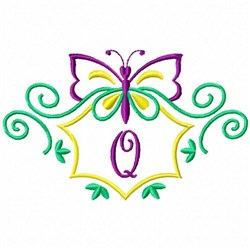 Monogram Butterfly Q embroidery design