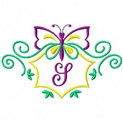 Monogram Butterfly S embroidery design