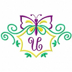 Monogram Butterfly U embroidery design