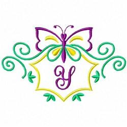 Monogram Butterfly Y embroidery design