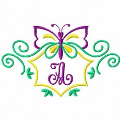 Monogram Butterfly A embroidery design