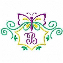 Monogram Butterfly B embroidery design
