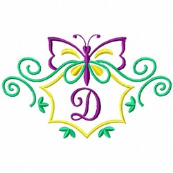 Monogram 70 - DMonogram Butterfly embroidery design